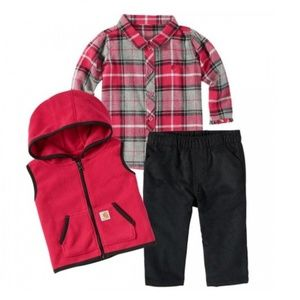 Nwt Girls Carhartt 6m 3 piece outfit red flannel